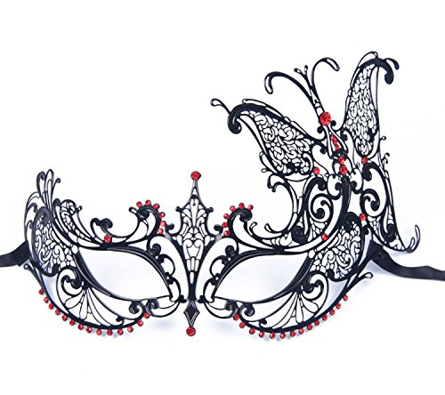 KAYSO Stunning Butterfly Venetian Luxury Metal Filigree Princess Masquerade Mask - 1