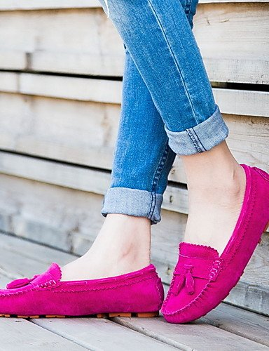 ZQ Zapatos de mujer-Tacón Plano-Comfort-Mocasines-Oficina y Trabajo / Vestido / Casual / Deporte-Ante-Rosa / Rojo / Gris , gray-us8.5 / eu39 / uk6.5 / cn40 , gray-us8.5 / eu39 / uk6.5 / cn40 pink-us6 / eu36 / uk4 / cn36