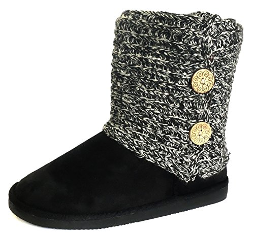 Redvolution Women's Knit Black & Grey Faux Fur Shearling Lined Wide Calf Flat Heel Ankle Boot Shoe Size 7