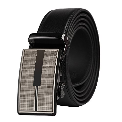 QBSM Mens Black Leather Ratchet Dress Belt, Automatic Slide Click Buckle Belts with Gift -