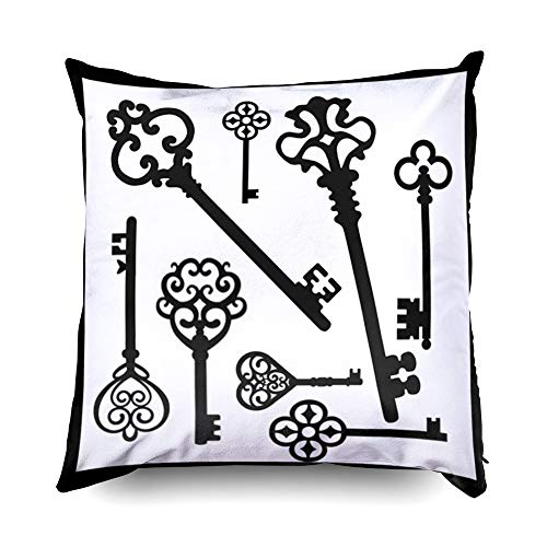 (TOMWISH Hidden Zippered Pillowcase Vintage Key Black and White 18X18Inch,Decorative Throw Custom Cotton Pillow Case Cushion Cover for Home Sofas,bedrooms,Offices,and More)