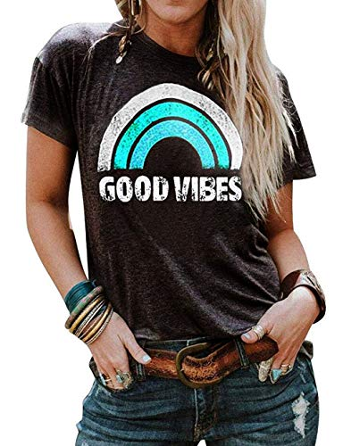 (Vaise Women Good Vibes Tank Tops Long Sleeve and Sleeveless Loose Graphic Tank Tops Casual Summer Rainbow Good Vibes Shirt (S, W-Green))