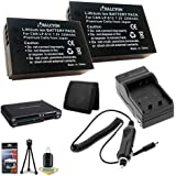 Canon EOS Rebel SL1 18 MP CMOS DSLR Camera Two LP-E12 Lithium Ion Replacement 2200 mAh Battery + External Rapid Charger + SDHC Card USB Reader + Memory Card Wallet + Deluxe Starter Kit Bundle DavisMAX SL1 Accessory Kit
