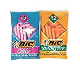BIC Single Blade Sensitive Skin Disposable Shaver, 12CT (SOP121)...