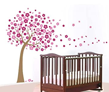 WallStickersUSA Wall Sticker Decal, Pink Cherry Blossom Tree, X Large