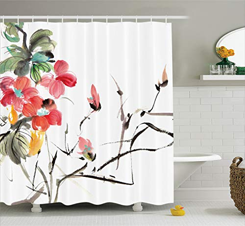 Ambesonne Japanese Decor Collection, Popular Early Period Asian Watercolors Design Print with Vivid Floral Motifs Art Picture, Polyester Fabric Bathroom Shower Curtain, 75 Inches Long, Multi