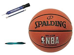 Spalding Basketball Silver Outdoor Größe 7 + Molten DHP21-BL Ballpumpe +...