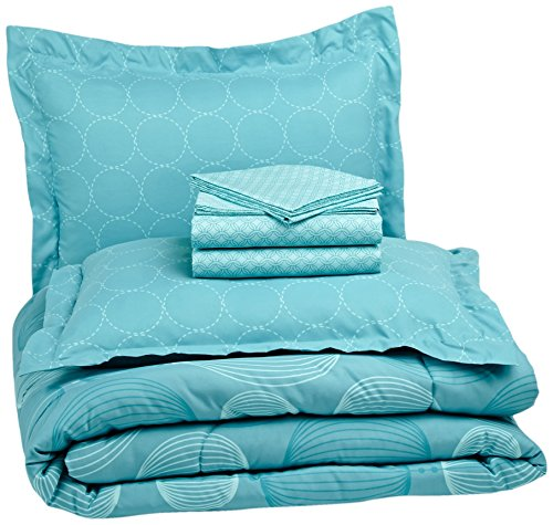 AmazonBasics 7-Piece Bed-In-A-Bag, Full/Queen, Industrial Teal