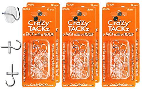 CraZy TACKz 72 tacks - 2 in 1 push pin + thumb tack + cup hook - Decorate, Organize & Hang 1000's of Items at Home, School, Office like Keys, ()
