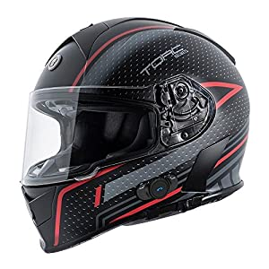 Torc T14B Blinc Loaded Scramble Mako Full Face Helmet (Flat Black with Graphic, Large)