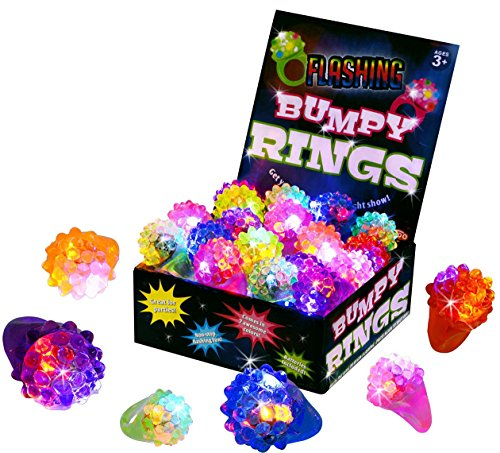 Kangaroo's Flashing LED Light Up Toys, Glow In The Dark Bumpy Rings, 18-Pack