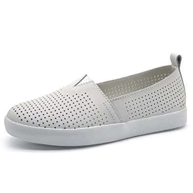 803930717cd5 HKR Women s Preforated Slip On Sneakers Summer Casual Loafers Flats Comfy  Driving Nursing Shoes 6 US