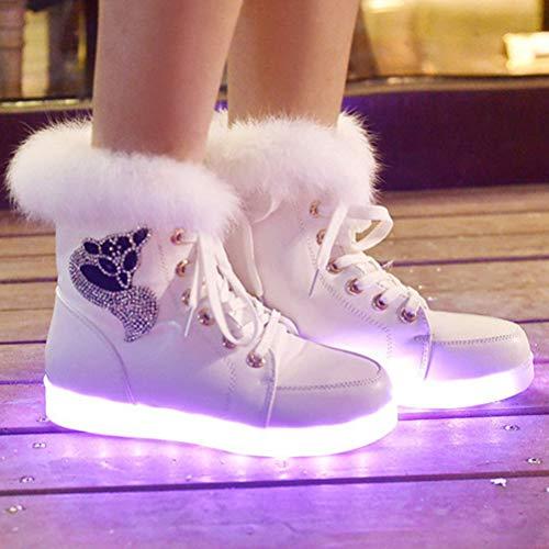 Mujer Carga tamaño Botas Terciopelo Bestoyard 40 Nieve Colores Cálidas Invierno Usb Zapatos Más Blanco Por Radiantes De Conejo Piel Para A8qAxzTp