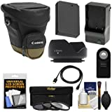 Canon Zoom Pack 1000 Digital SLR Camera Holster Case with LP-E12 Battery & Charger + 3 Filters + HDMI Cable + Remote + Hood + Accessory Kit for Rebel SL1