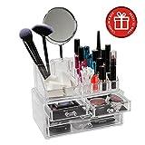 ClosetMate Luxury Acrylic Cosmetic Make Up Organizer - Bonus Two Sided Mirror, Great for Organizing Lipstick, Nail Polish. Makeup Brushes  - Keep Your Vanity Dresser Perfectly Organized
