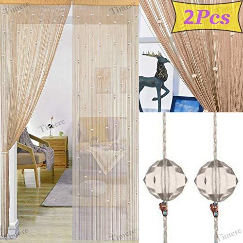 2 Pcs Crystal Beaded Curtain Tassel Curtain - Partition Door Curtain Beaded String Curtain Door Screen Panel Home Decor Divider Crystal Tassel Screen 90x200cm ()