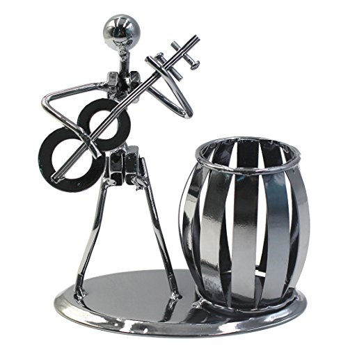 Desktop Business Gifts (Musician Theme Iron Man Art Steel Metal Pen Container Holder Pencil Cup Pot Case Students Desktop Organizer Music Decoration Decor Toy Gift (Guitar))