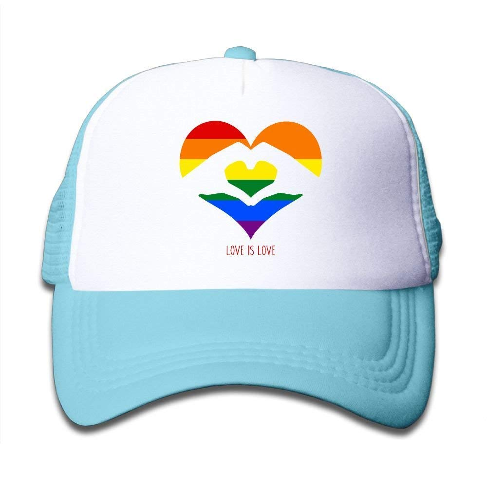 Kids Boys Girls Love is Love LGBT Rainbow Heart Youth Mesh Baseball Cap Summer Adjustable Trucker Hat