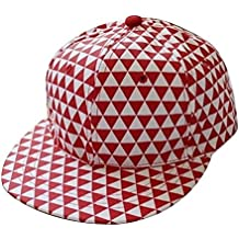Aolvo Classic Flat Bill Structured Trucker Hats Hip Hop Black Embroidery Cotton Twill Canvas Baseball Cap with Adjustable Snapback Fit Unisex (Red Triangle)