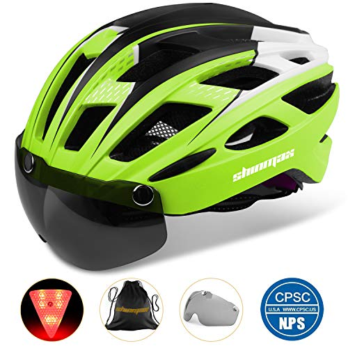 Bike Helmet, Shinmax Cycling Helmet CPSC Safety Standard Adjustable Bicycle/Climbing Helmet with Magnetic Visor&LED Safety Back Light for Adult Youth Men/Women Mountain&Road