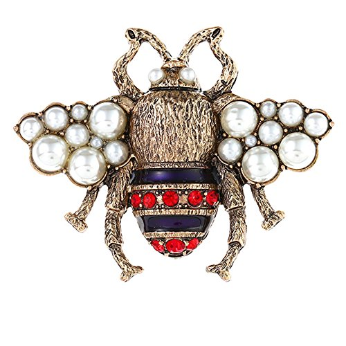FERVENT LOVE Simulated Pearl Honey Bee Brooch Pin