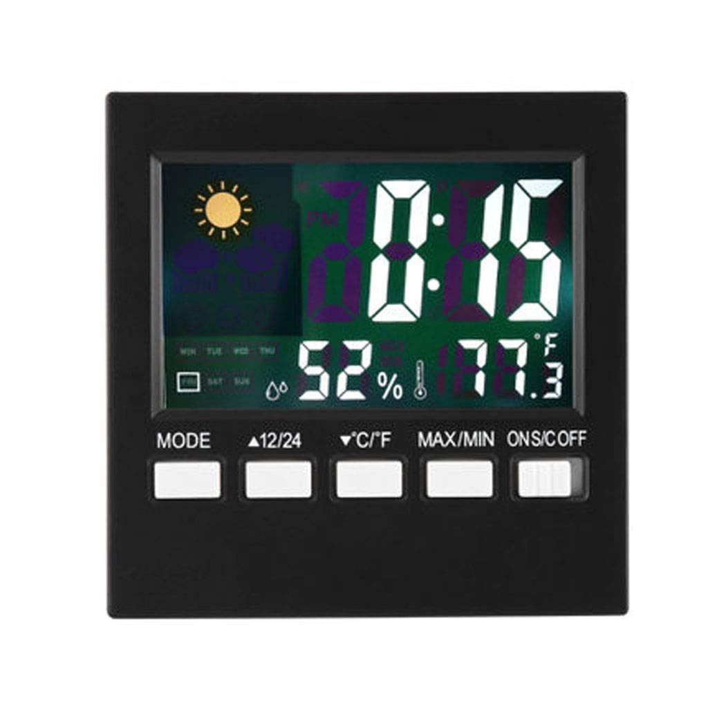 MSNDD Digital Thermometer Alarm Clock Temperature Humidity Weather Display Meter Indoor Outdoor Tester Alarm Clock Weather Station
