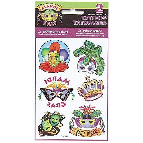 Mardi Gras Temporary Tattoo Sheets, 2ct