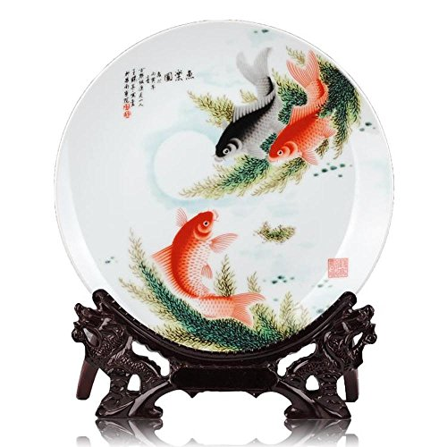 KTYXDE Ceramic Modern Fashion Chinese Fish Music Picture Hanging Plate Home Crafts Jewelry Crafts Ornaments