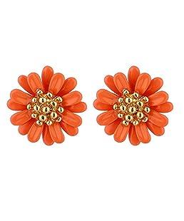 ywbtuechars Earrings for Women, Women Fashion Daisy Flower Ear Stud Earrings Wedding Gift Jewelry Accessories - Orange