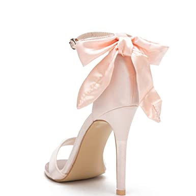 3a182f485bd11 Women's Ladies Dress Shoes with Bow Cute Green Pink Stiletto High Sandals  Heels Open Toe Shoes