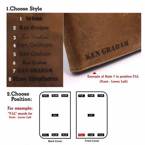 "Tuff-Luv Personalisierte Tasche (z.B Ihr Name, andere Name, Inschrift) ""Western Leather Collection"" Sattelbraun Herren Lederbrieftasche Pull-N-Pay"