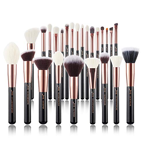 (Jessup Brand 25pcs Professional Makeup Brush set Beauty Cosmetic Foundation Power Blushes eyelashes Lipstick Natural-Synthetic Hair Brushes set (Black/Rose Gold))
