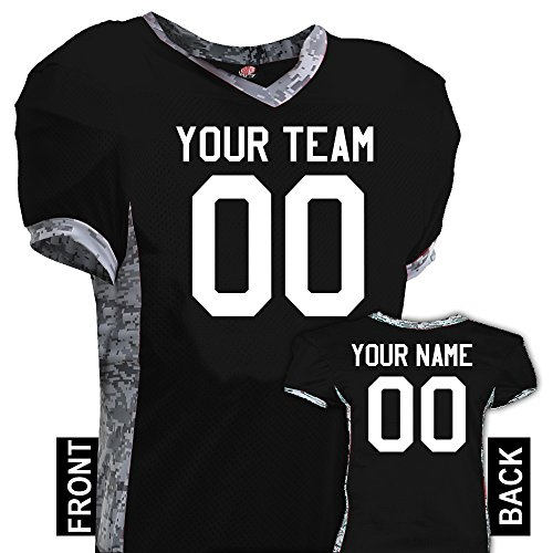 Command Digital Camo Print Custom Football Jersey, Adult medium, Black ()