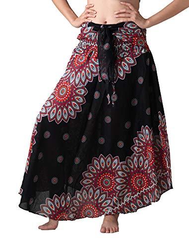 - Bangkokpants Women's Long Hippie Bohemian Skirt Gypsy Dress Boho Clothes Flowers One Size Fits Asymmetric Hem Design (Black Flowerbloom, One Size)