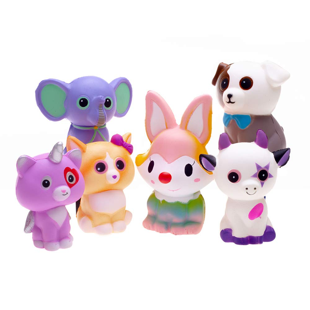 FORTON Kawaii Slow Rising Squishy Toys Animals Unicorn Cat Dog Cow Fox Elephant Squishies Pack of 6 by FORTON (Image #3)