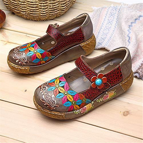 Dark Summer Leather Socofy Dancing Casual Wedge Vintage Flower Shoes Ballet Flat Loafers Sandals Grey Platform Colorful Women's Sandals Oxfords Women Slip on Size qAAf1