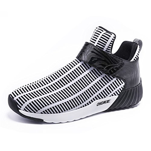 YiDiar Men's Lightweight Stripes Breathable Hook Loop Sports Running Shoes Athletic Sneakers - Mens Running Shoes 9e