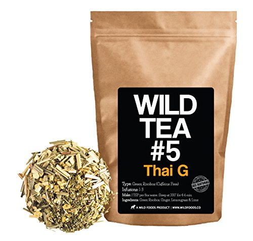 Green Rooibos Tea with Ginger, Lemongrass and Lime, All-Natural Organically Grown Ingredients - Wild Tea #5 Loose Leaf Rooibos Tea (4 ounce)