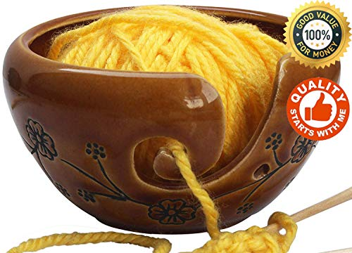 abhandicrafts - Deals of The Day - Ceramic Brown Yarn Bowl for Knitting, Crochet for Moms - Beautiful Gift on All Occasions. A for Moms and Grandmothers 6.5X4 Inch by abhandicrafts (Image #4)