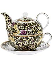 The Leonardo Collection William Morris - Juego de platillo y Tetera (Porcelana), diseño de Alga Marina