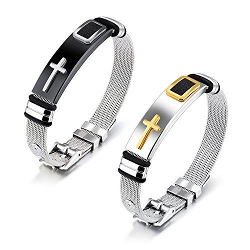 Moniya Stainless Steel Religious Cross Bracelet Bangle For Men Boys Sporty Wristband Size (Christian Jewelry Stores)