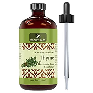 Beauty Aura Thyme Essential Oil – 4 fl oz- 100% Pure, Undiluted Therapeutic Grade Oil - Ideal for Aromatherapy .