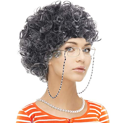 Old Lady Custume Set-Grandmother Wig,Wig Caps,Madea Granny Glasses, Eyeglass Retainer Chain,Pearl Necklace(5 Pieces) Fits All (Style-10)