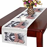 InterestPrint Funny Watercolor Raccoon Animal with Scarf Table Runner Cotton Linen Cloth Placemat Home Decor for Home Kitchen Dining Wedding Party 16 x 72 Inches