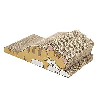 Jitong Cartoon Juguetes de Mascotas Curvo Rascadores para Gatos de Carton Impresa Camas Sofás (Caqui, 42.5 * 22.5 * 13.5cm): Amazon.es: Hogar