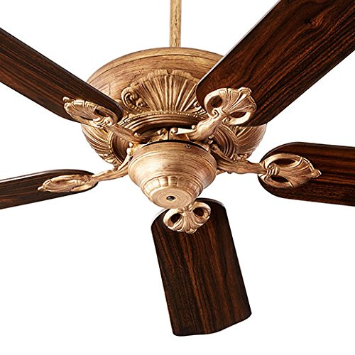 Quorum 78605-30 Protruding Mount, 5 Medium Oak Blades Ceiling fan, Vintage Gold Leaf