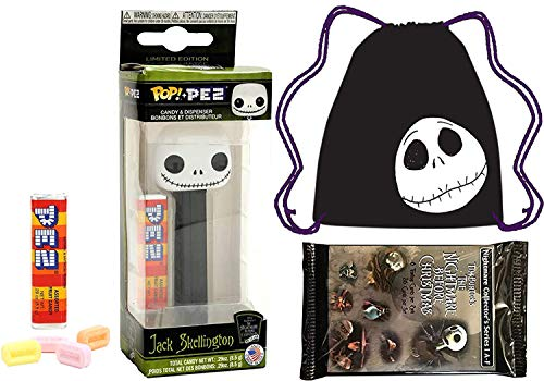 Popit Candy Nightmare Before Christmas Mini Figure Jack Head Pez Pop Bundled with + Jack Skellington Draw String Tote Bag Pumpkin Head Character + Movie Trading Cards ()