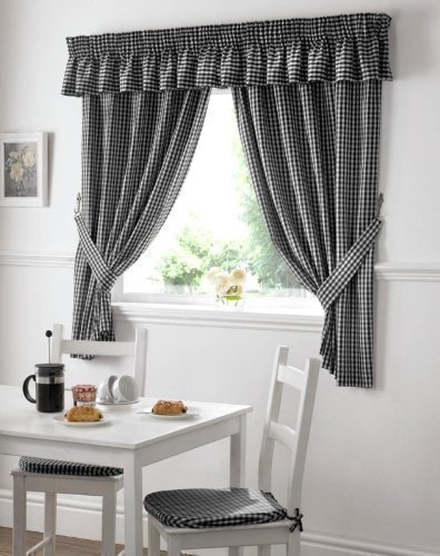 GINGHAM CHECK BLACK WHITE KITCHEN CURTAINS DRAPES W46 X L42 TIEBACKS INCLUDED