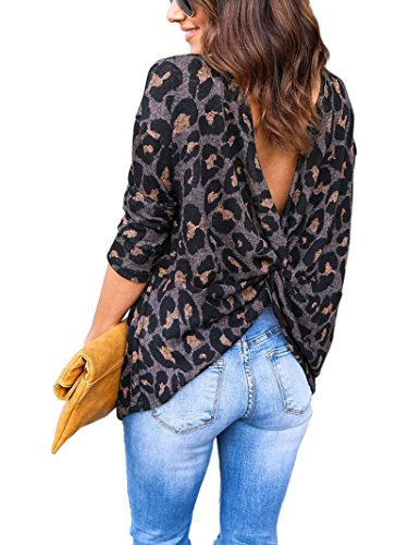 Engood Women's Spring Cross Loose Backless Long Sleeve Leopard Print Top Blouse Brown XL