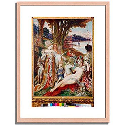 ギュスターヴモロー「The Unicorns. About 1885 」 インテリア アート 絵画 プリント 額装作品 フレーム:木製(白木) サイズ:M (306mm X 397mm) B00N6ER5Y6 2.M (306mm x 397mm)|2.フレーム:木製(白木) 2.フレーム:木製(白木) 2.M (306mm x 397mm)